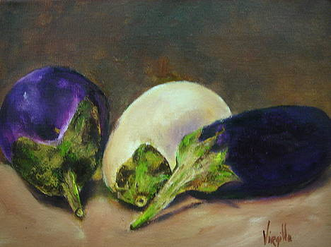 Virgilla Lammons - Vibrant still life paintings - Eggplants