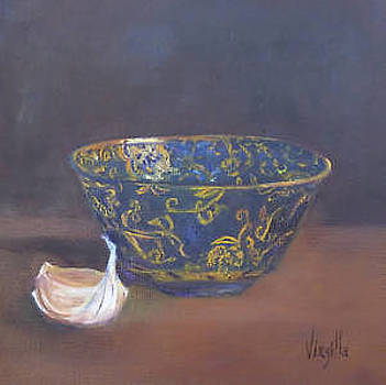 Vibrant still life paintings - Golden Bowl with Garlic by Virgilla Lammons