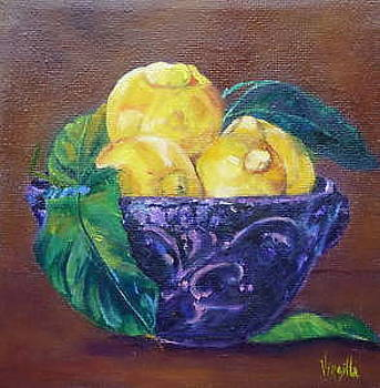 Virgilla Lammons - Vibrant still life paintings    Italian Rustic Bowl with Lemons    Virgilla Art