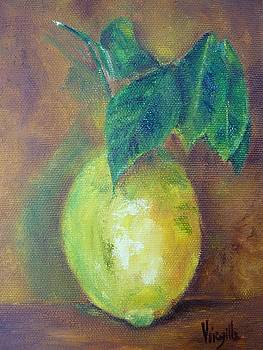 Virgilla Lammons - Vibrant still life paintings - Lemon with Branch - Virgilla Art