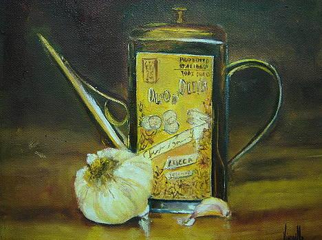 Vibrant still life paintings - Olive Oil with Garlic - Virgilla Art by Virgilla Lammons