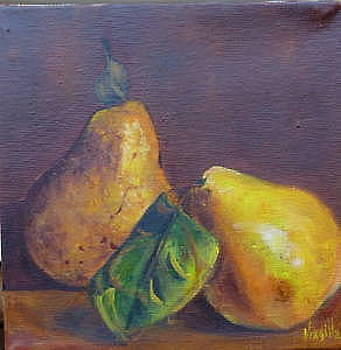 Vibrant still life paintings - Pears with Leaves - Virgilla Art Original by Virgilla Lammons