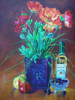 Vibrant still life paintings - Poppies with Fruit and Wine - Virgilla Art by Virgilla Lammons