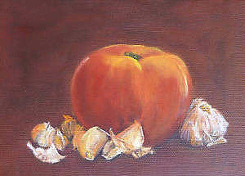 Vibrant still life paintings - Tomato with Garlic Array by Virgilla Lammons