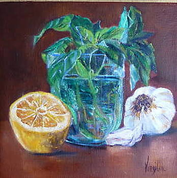 Vibrant still life paintings  Basil with Lemon and Garlic  Virgilla Art by Virgilla Lammons