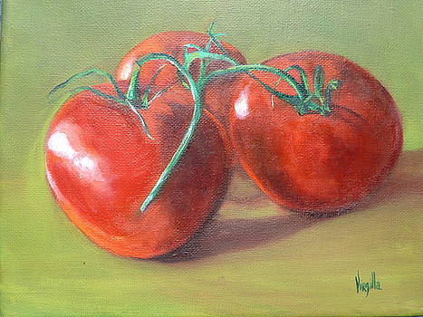 Vibrant still life paintings Three Tomatoes by Virgilla Lammons