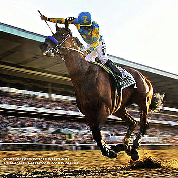 American Pharoah and Victor Espinoza  win the 2015 Belmont Stakes and the Triple Crown. by Thomas Pollart