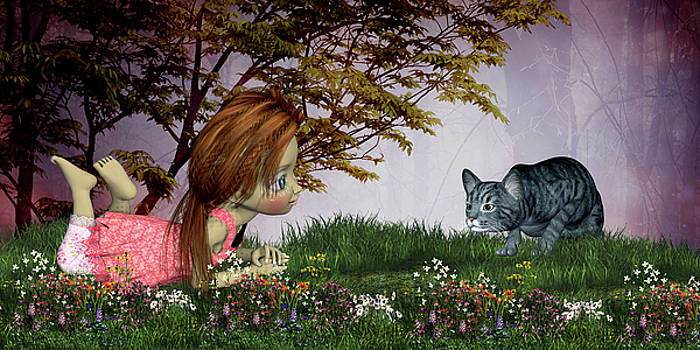 Victoria and her cat by John Junek