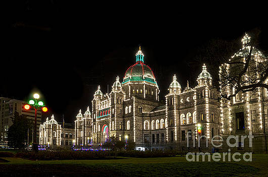 Victoria Parliament Buildings at Night at Christmas by Maria Janicki