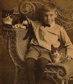 Peter Ogden - Victorian Boy in Fancy Wicker Chair with two Cats