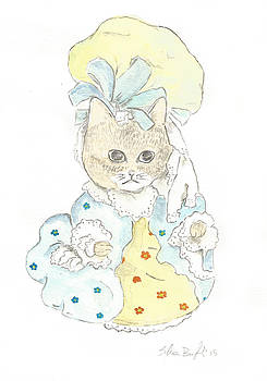 Victorian Cat In Blue And Yellow by Silvia Beneforti