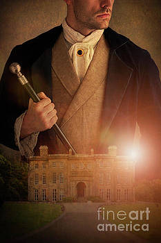 Victorian Man With A Historical Mansion House by Lee Avison