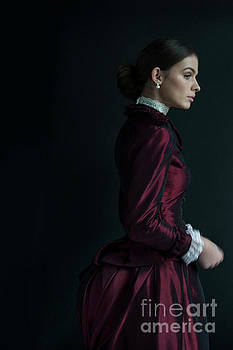 Victorian Woman In A Red Bussle Dress  by Lee Avison