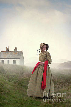 Victorian Woman On The Moors With Cottage  by Lee Avison