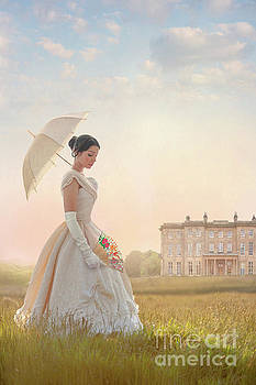 Victorian Woman With Parasol And Fan by Lee Avison