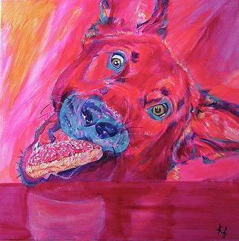 Dog gets the donut by Karin McCombe Jones