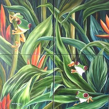 Vier Froesche   Four frogs by Haike Espenhain