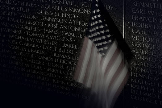 Vietnam Memrial Wall with US Flag by Art Whitton