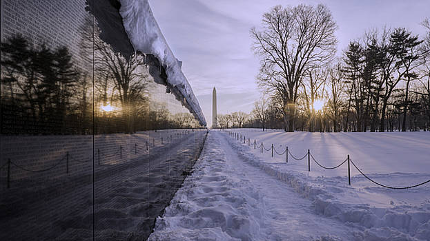Vietnam Vetrans Memorial In Snow by Michael Donahue