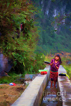 Chuck Kuhn - Vietnamese Girl Washing Clothes