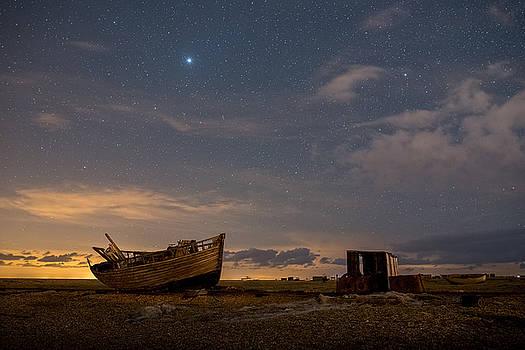 View across Dungeness Peninsula at night. by David Attenborough