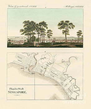 German School - View and map of the East Indian establishment Singapore