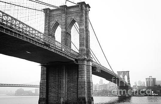 View Brooklyn Bridge with Foggy City in the Background by PorqueNo Studios