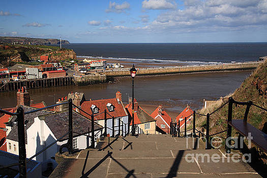 View down the steps to the harbour Whitby by Deborah Benbrook