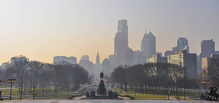 View from the Philadelphia Art Museum - Cityscape by Bill Cannon
