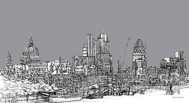 View from the Southbank with summer in cool grey  by Adendorff Design
