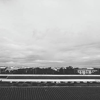 View From The Terrace Black And White by Siri
