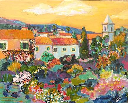 View of Biniaraix with blooming fields by M Cerda