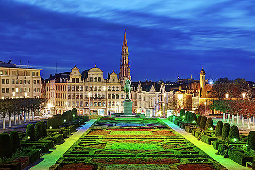 View of Brussels from Jardin du Mont des Arts by Barry O Carroll
