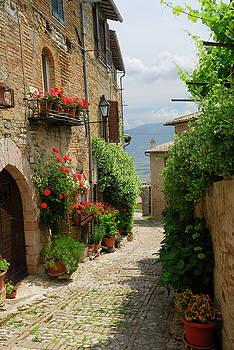 Reimar Gaertner - View of Clitumnus valley from narrow cobblestone alleyway in Mon
