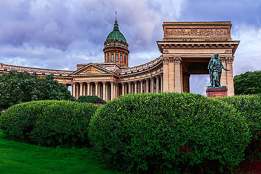 View of Kazan Cathedral and a monument to renowned Russian General M. B. Barclay de Tolly. by George Westermak