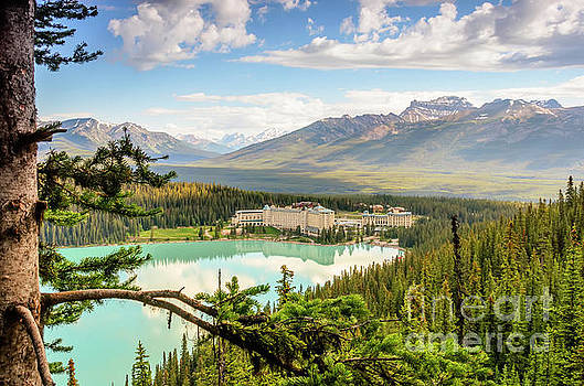 View of Lake Louise from above by Viktor Birkus