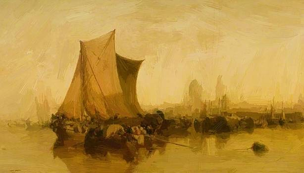 Webb James - View Of Mayence Germany With Market Boats 1871