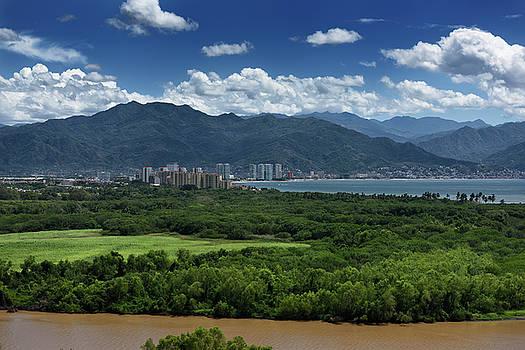 Reimar Gaertner - View of Puerto Vallarta over the Ameca River with Sierra Madre M