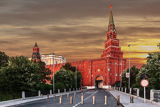View of the Borovitskaya tower of the Moscow Kremlin by George Westermak