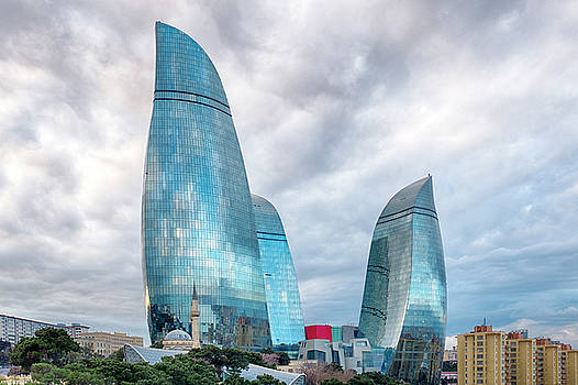 View of the Flame Towes of Baku by Fabrizio Troiani