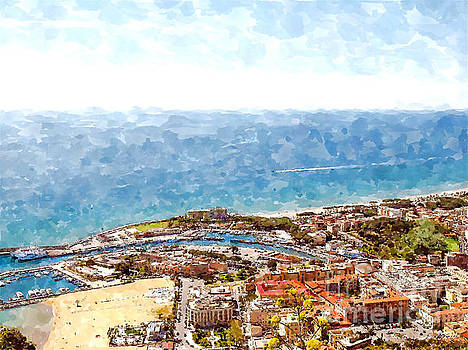 View of the village's cityscape with port by Giuseppe Cocco