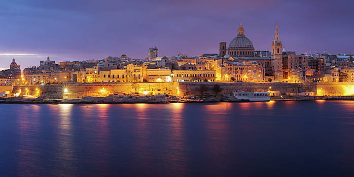 View of Valletta at night from Sliema, Malta by Sergey Ryzhkov