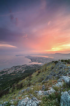 View on city Split from the mountain at sunset by Andriy Stefanyshyn