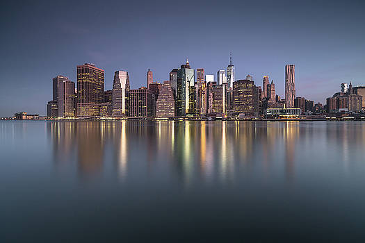 View on Lower east side Manhattan from East river at sunrise by Andriy Stefanyshyn