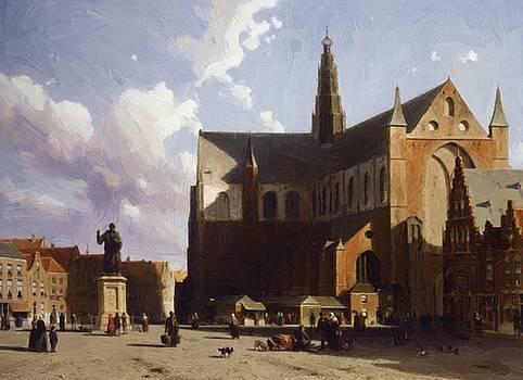 Weissenbruch Johan Hendrik - View On The Market Of Haarlem Sun