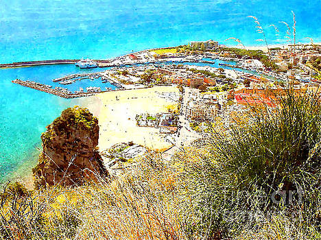 View port and beach with rock by Giuseppe Cocco