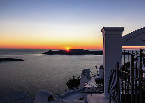 View to sunset from Thira by Sergey Simanovsky