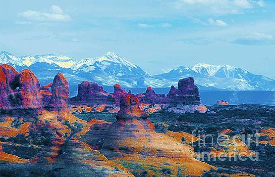 Viewing the La Sals from Arches by Annie Gibbons