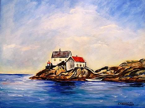 Vikeholmen Lighthouse by Carol Allen Anfinsen