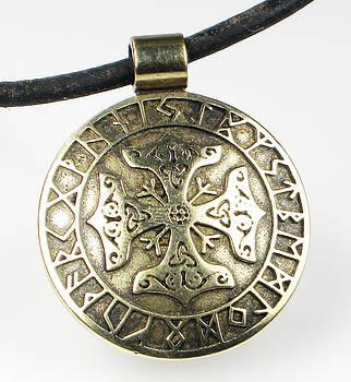 Viking Bronze Celtic Cross with Runes by Virginia Vivier